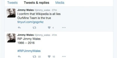 Wikipedia the drum hacking group ourmine strikes next victim taking over wikipedia co founder jimmy wales twitter malvernweather Images