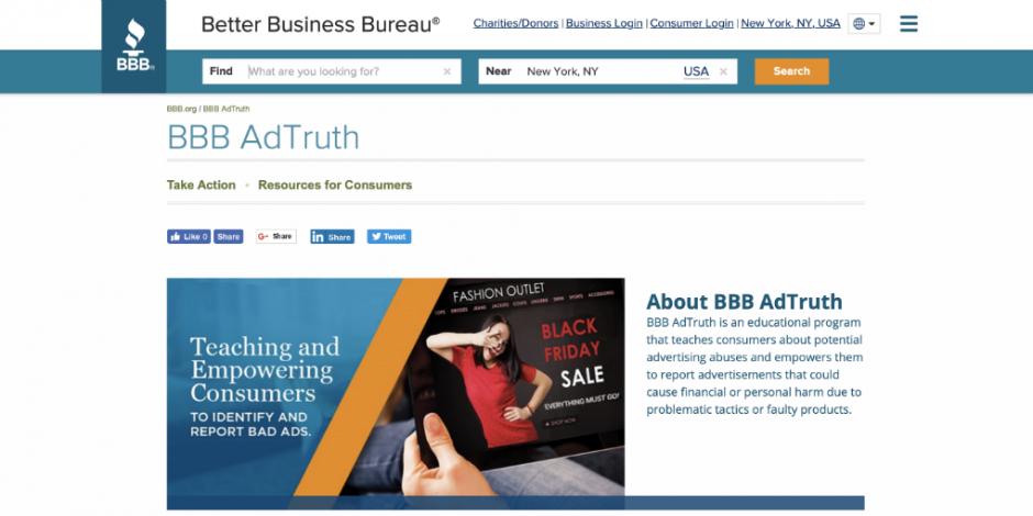 Better Business Bureau launches BBB AdTruth consumer